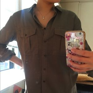 Olive button up shirt
